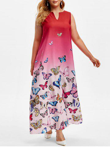 Plus Size Butterfly Print Ombre Color Maxi Dress - DEEP RED - XL