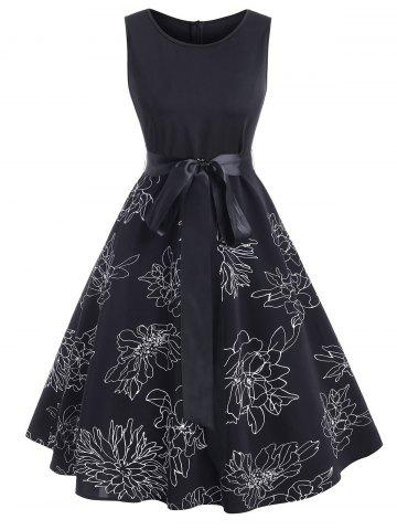 Floral Print Belted Sleeveless Knee Length Dress