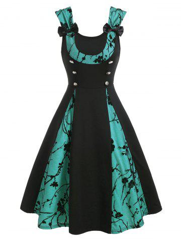 Bowknot Two Tone Lace Panel Sleeveless A Line Dress