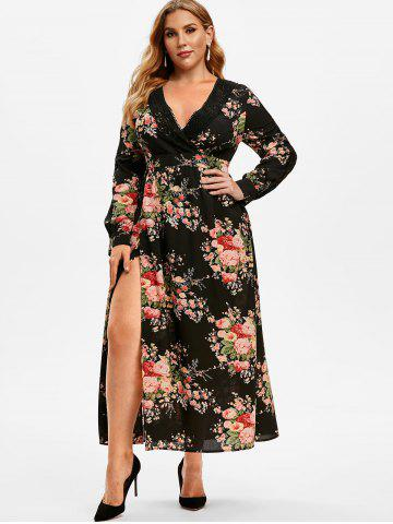 Plus Size Floral Print Lace Crochet High Slit Dress