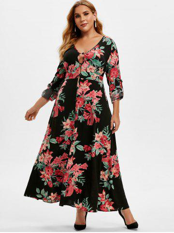 Plus Size Floral Print Roll Up Sleeve Maxi Dress