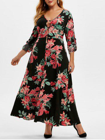 Plus Size Floral Print Roll Up Sleeve Maxi Dress - BLACK - 5X
