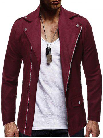 Zip Up Zipper Detail Wool Blend Jacket - RED WINE - M
