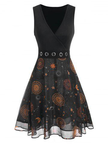 Sun And Moon Star Printed Grommet Dress