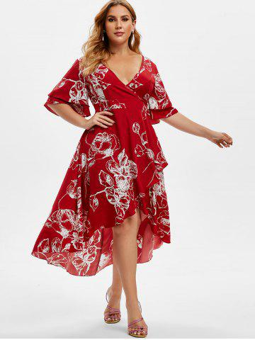 Plus Size Bell Sleeve Floral Print High Low Midi Dress