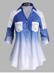 Plus Size Lace Panel Buttoned Sleeve Tabs Ombre Shirt -