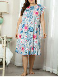 Plus Size Lounge Floral Leaf Laced Flounce Night Dress -