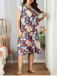 Plus Size Lounge Floral Leaf Laced Flounce Nightdress -