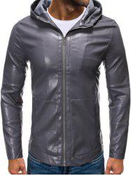 Hooded Zip Up Faux Leather Jacket -