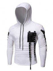Lace-up Buckle Strap Pocket Hoodie -
