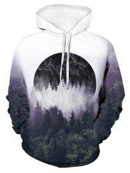 Forest Reflective Pattern Front Pocket Pullover Hoodie -