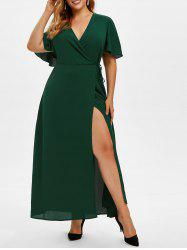 Plus Size Plunge High Slit Maxi Dress -