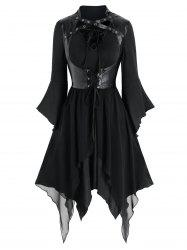 Lace-up Handkerchief Dress and Faux Leather Gothic Vest -