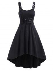 Sleeveless Buckle Strap Lace-up High Low Dress -