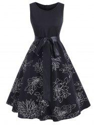 Floral Print Belted Sleeveless Knee Length Dress -