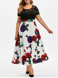 Plus Size Flower Print Lace See Thru Maxi Dress -
