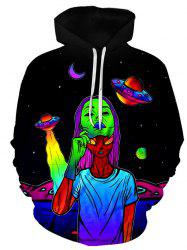 Colorful Alien Pattern Front Pocket Pullover Hoodie -