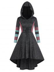 Colorblock Lace Up High Low Hooded Dress -