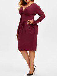 Plus Size Plunging Surplice Sheath Dress -