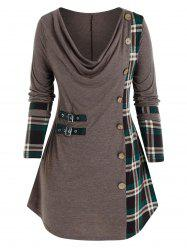 Plus Size Plaid Cowl Neck Buttoned Buckle Tunic Tee -