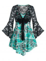 Plus Size Bowknot Bell Sleeve Lace Top and Camisole Set -