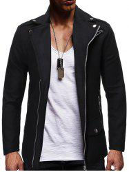 Zip Up Zipper Detail Wool Blend Jacket -