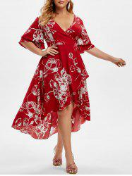 Plus Size Bell Sleeve Floral Print High Low Midi Dress -