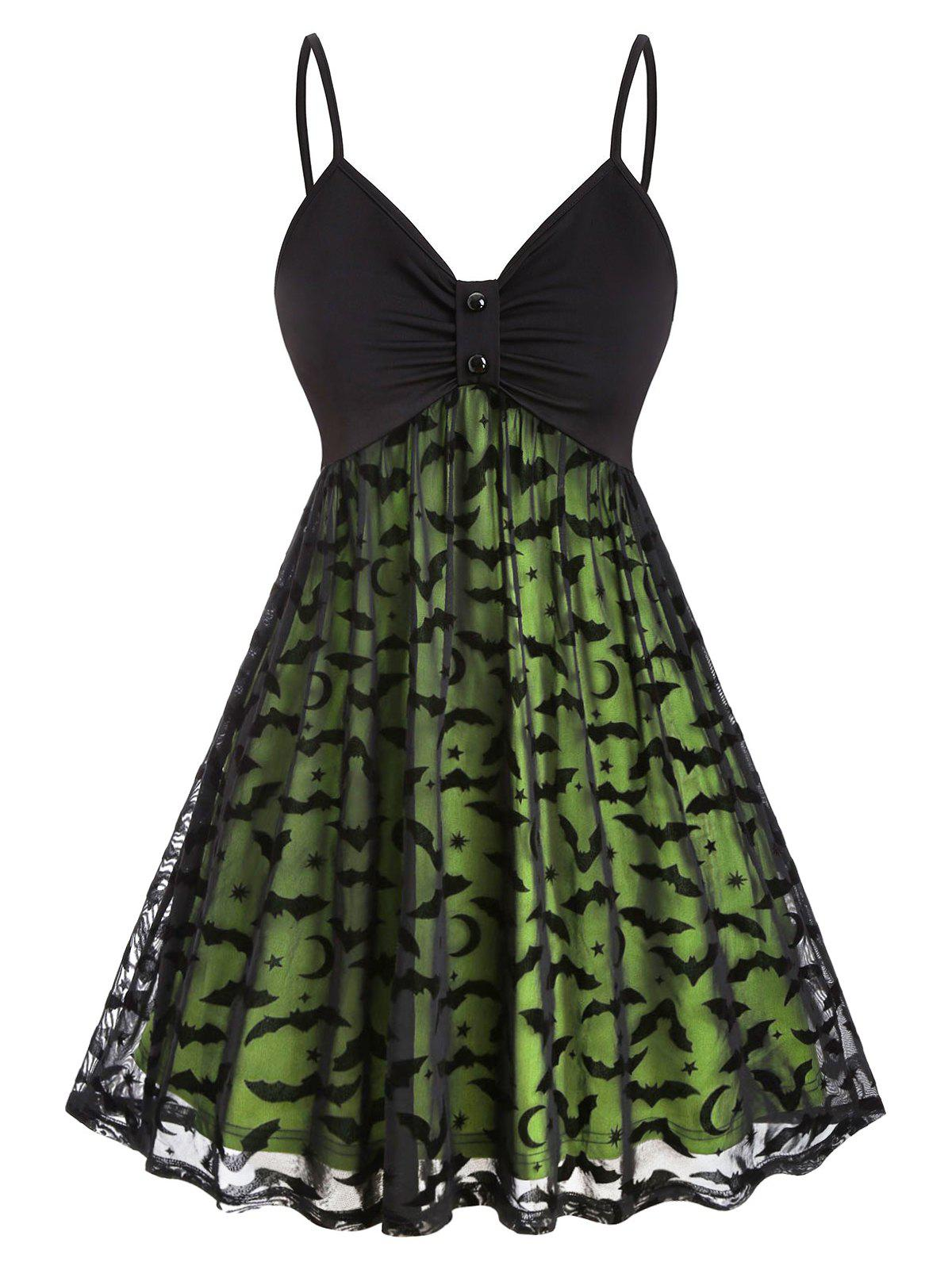 Hot Plus Size Halloween Neon Bat Mesh Dress
