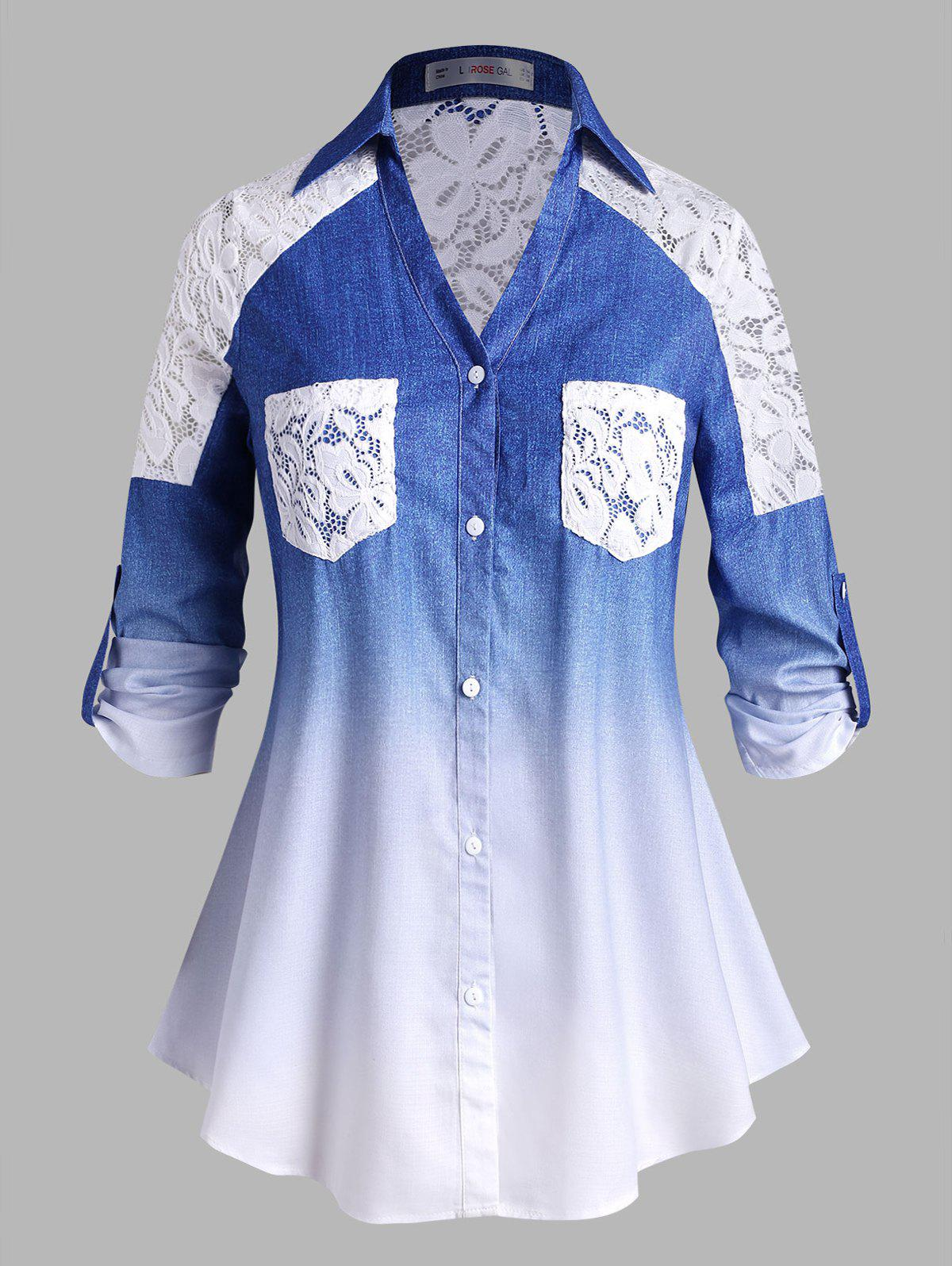 Discount Plus Size Lace Panel Buttoned Sleeve Tabs Ombre Shirt