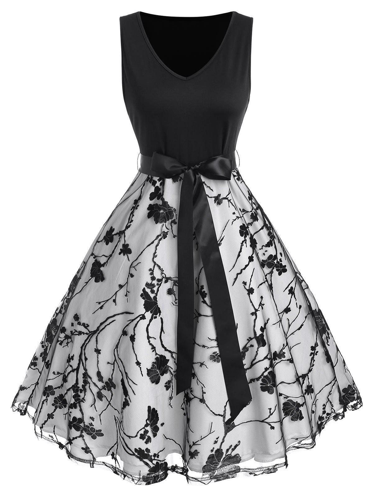 Outfit Floral Lace Waist Ribbon Bowknot Dress