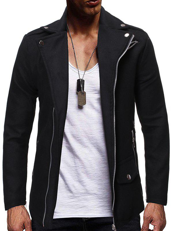 Affordable Zip Up Zipper Detail Wool Blend Jacket