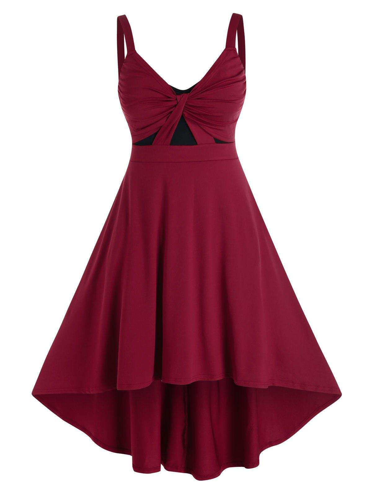 New Plus Size Twist Ruched High Low Curved Hem Dress
