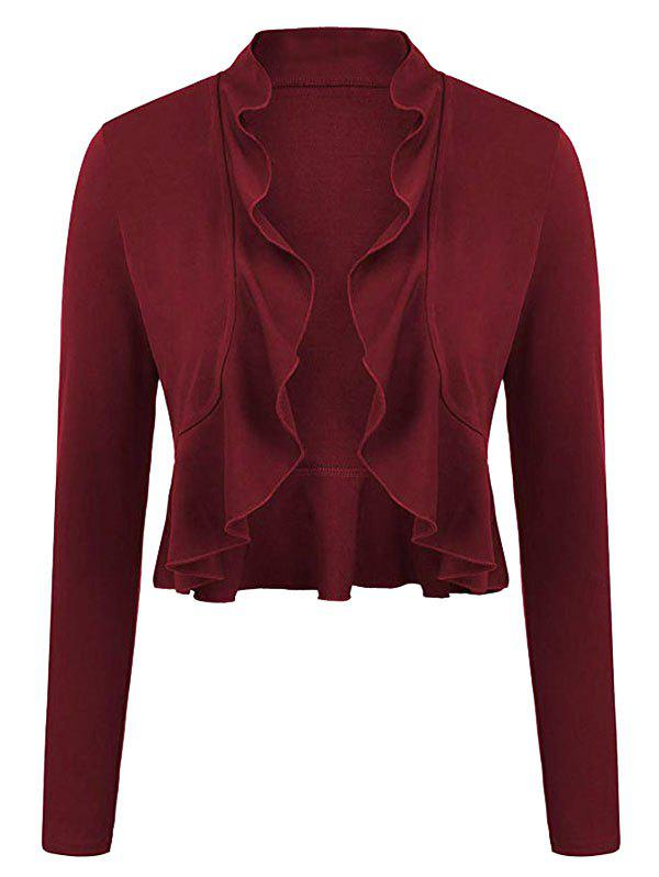 Affordable Plus Size Ruffled Trim Bolero Jacket
