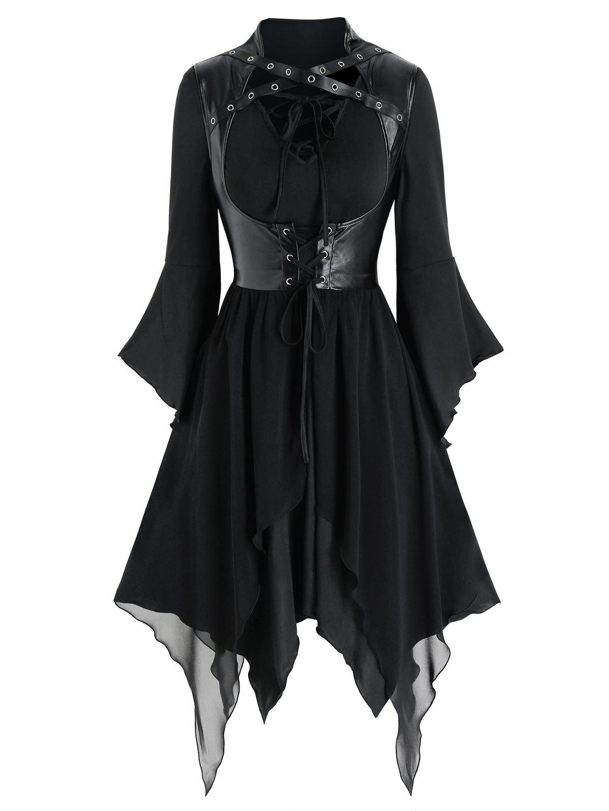 Latest Lace-up Handkerchief Dress and Faux Leather Gothic Vest