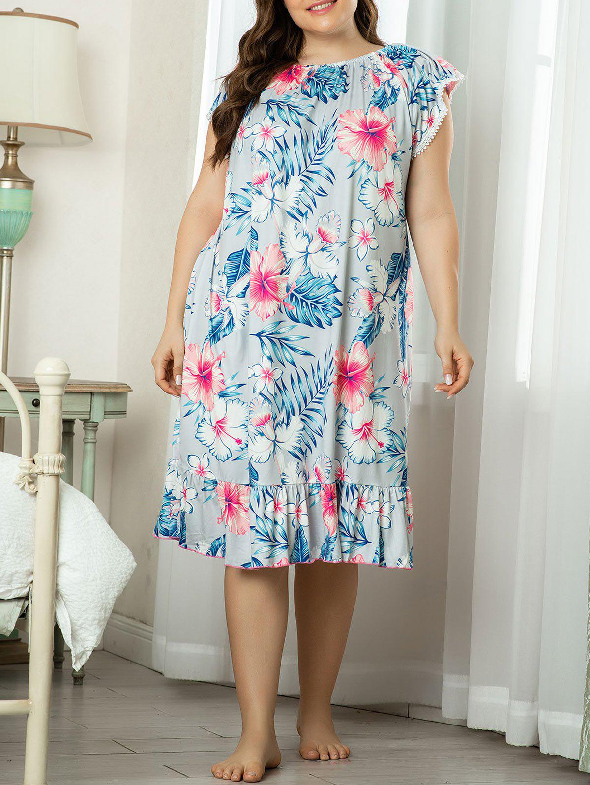 Affordable Plus Size Lounge Floral Leaf Laced Flounce Night Dress