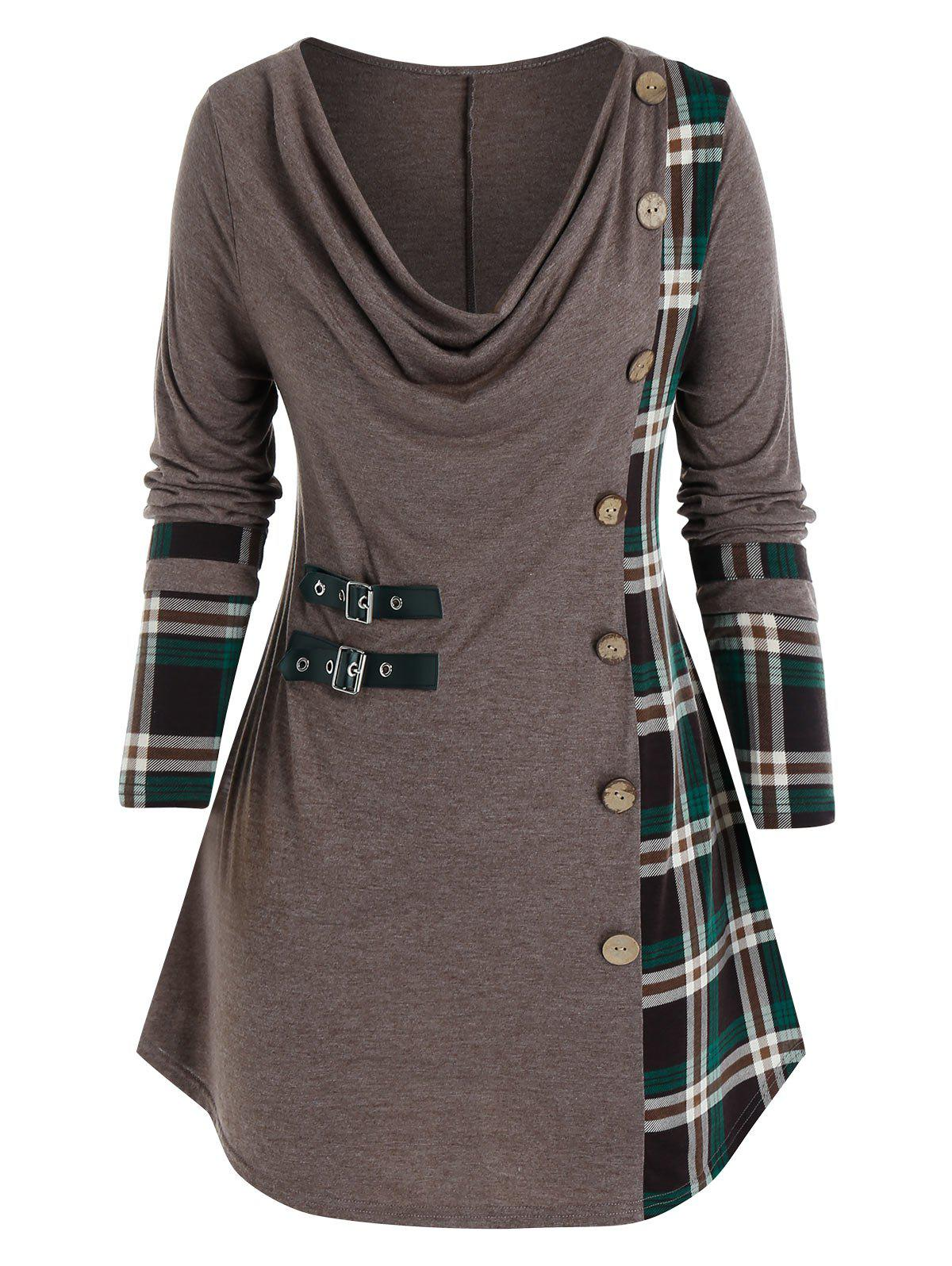 Best Plus Size Plaid Cowl Neck Buttoned Buckle Tunic Tee