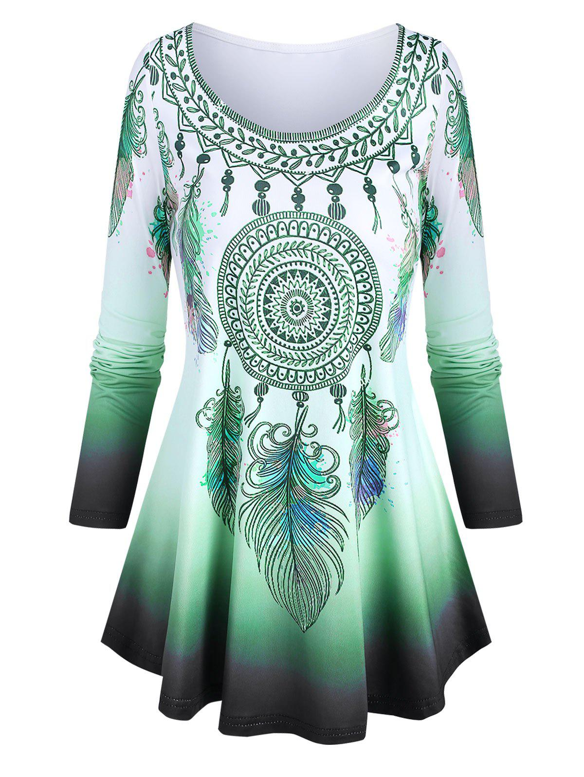 Hot Scoop Neck Dreamcatcher Feather Pattern Ombre T Shirt