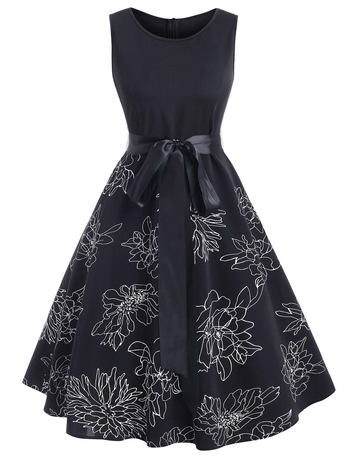 Unique Floral Print Belted Sleeveless Knee Length Dress