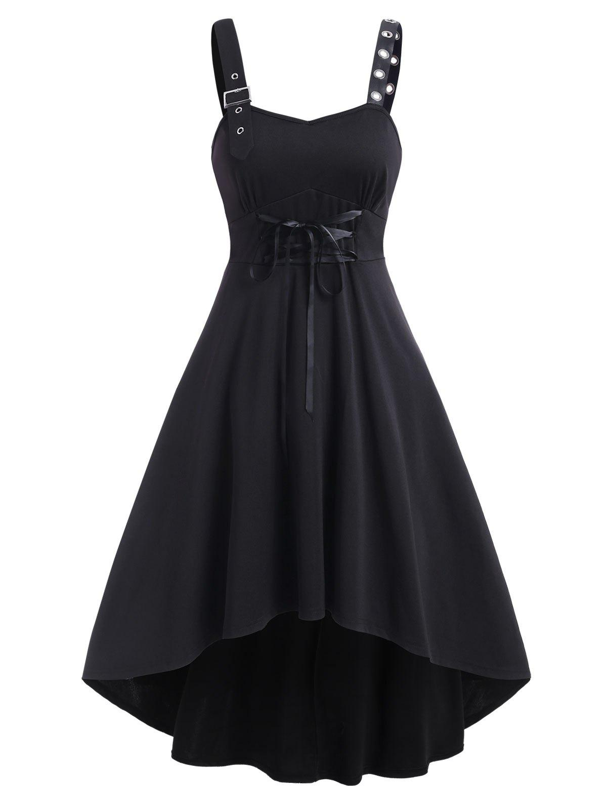 Online Sleeveless Buckle Strap Lace-up High Low Dress