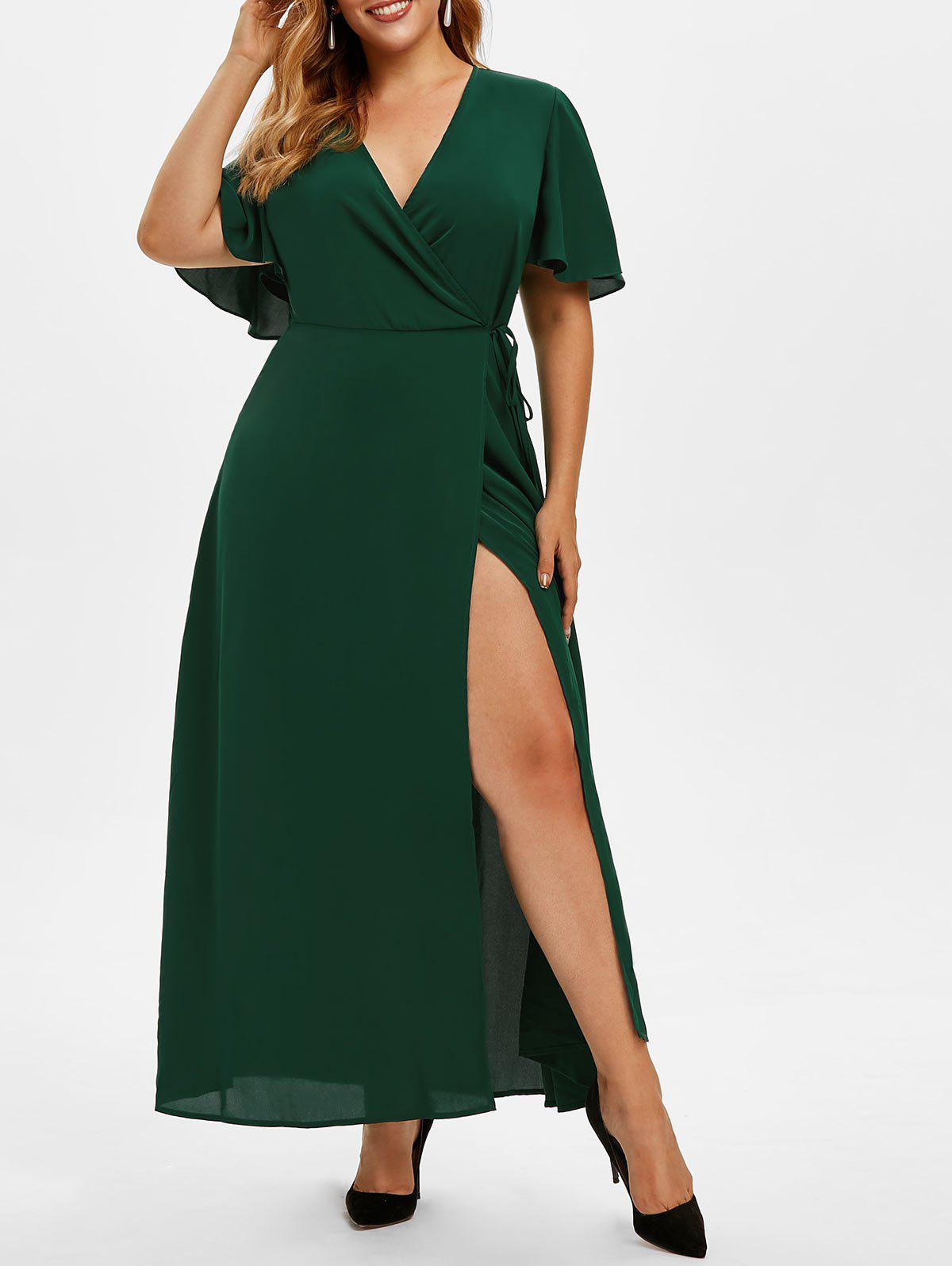 Outfit Plus Size Plunge High Slit Maxi Dress