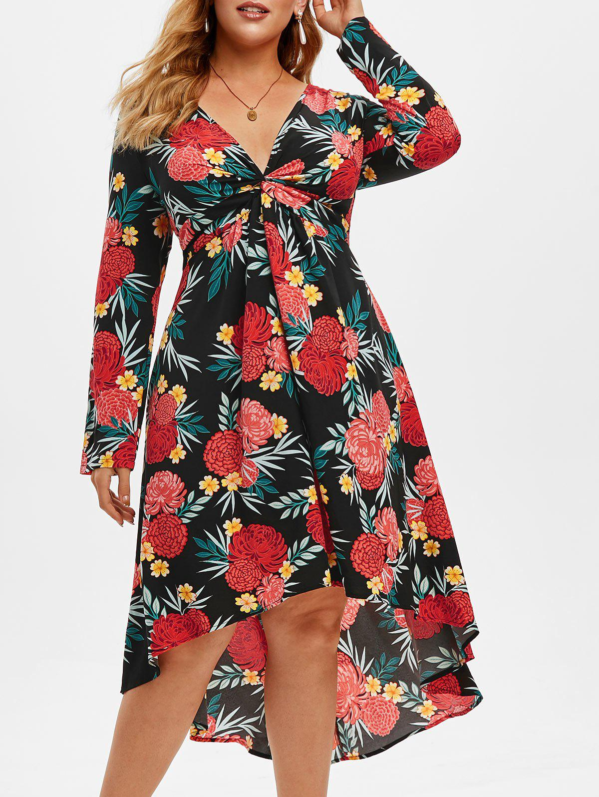 Trendy Plus Size Floral Printed High Low Twist Dress