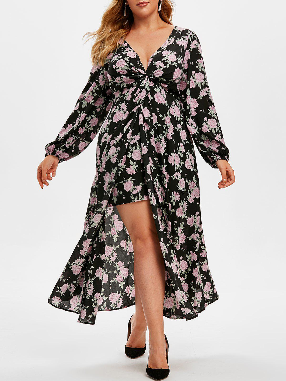 New Plus Size Plunge High Slit Floral Midi Dress