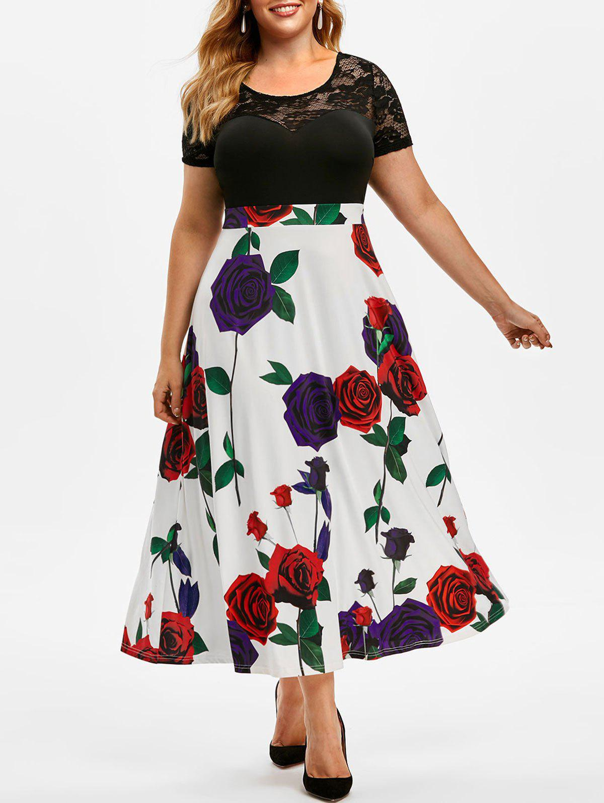 Chic Plus Size Flower Print Lace See Thru Maxi Dress