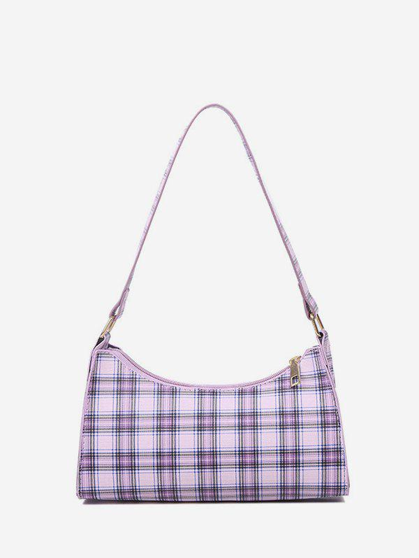 Chic Plaid Pattern Rectangle PU Shoulder Bag