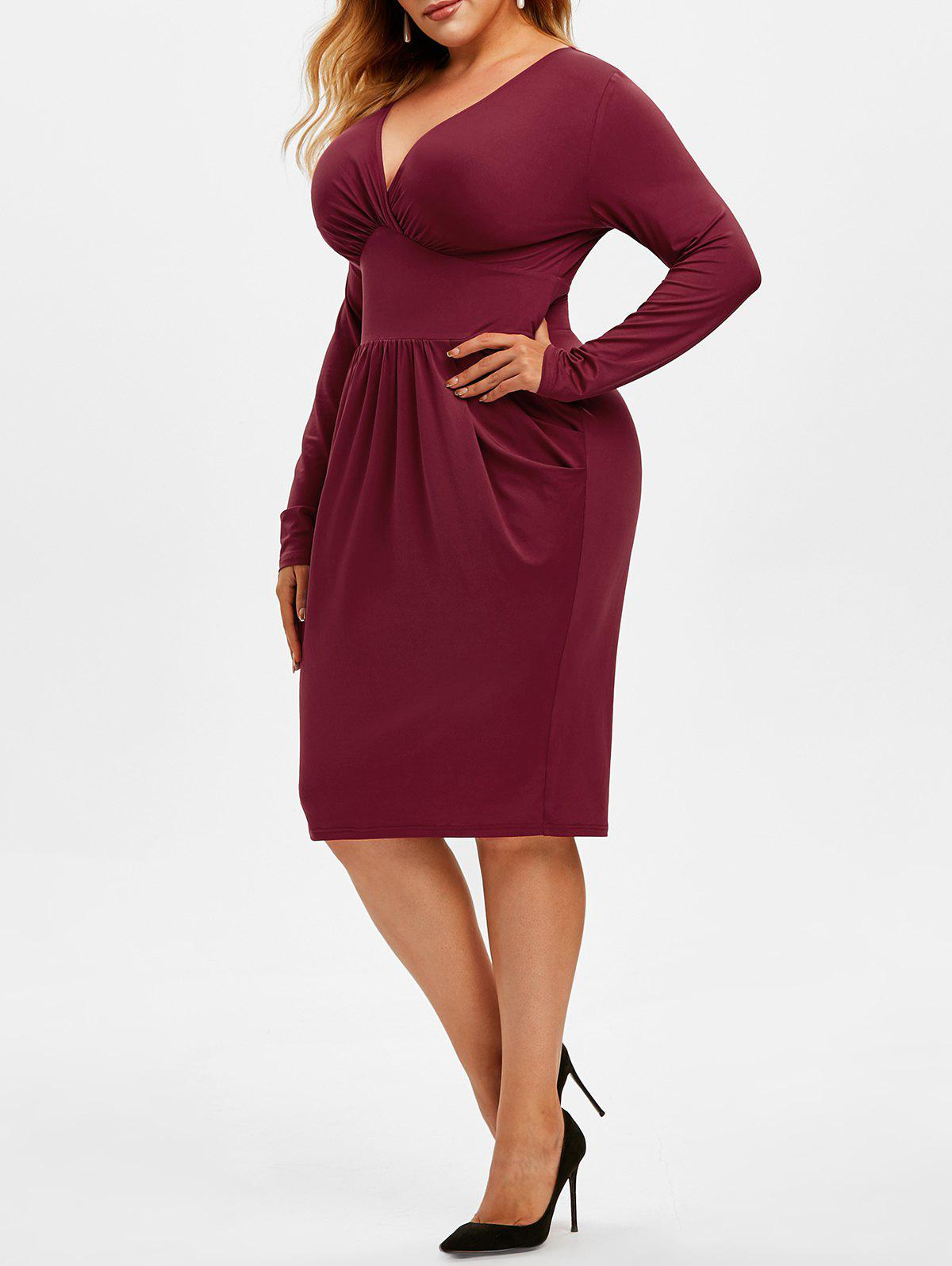Cheap Plus Size Plunging Surplice Sheath Dress