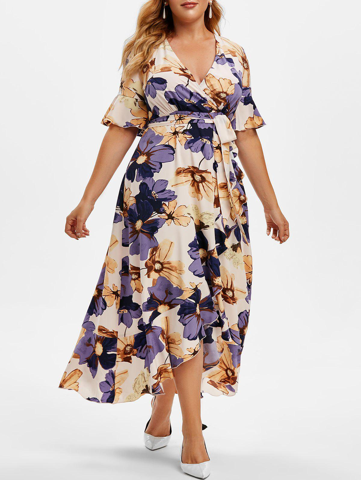 Best Plus Size Ruffle Floral Print High Low Maxi Dress