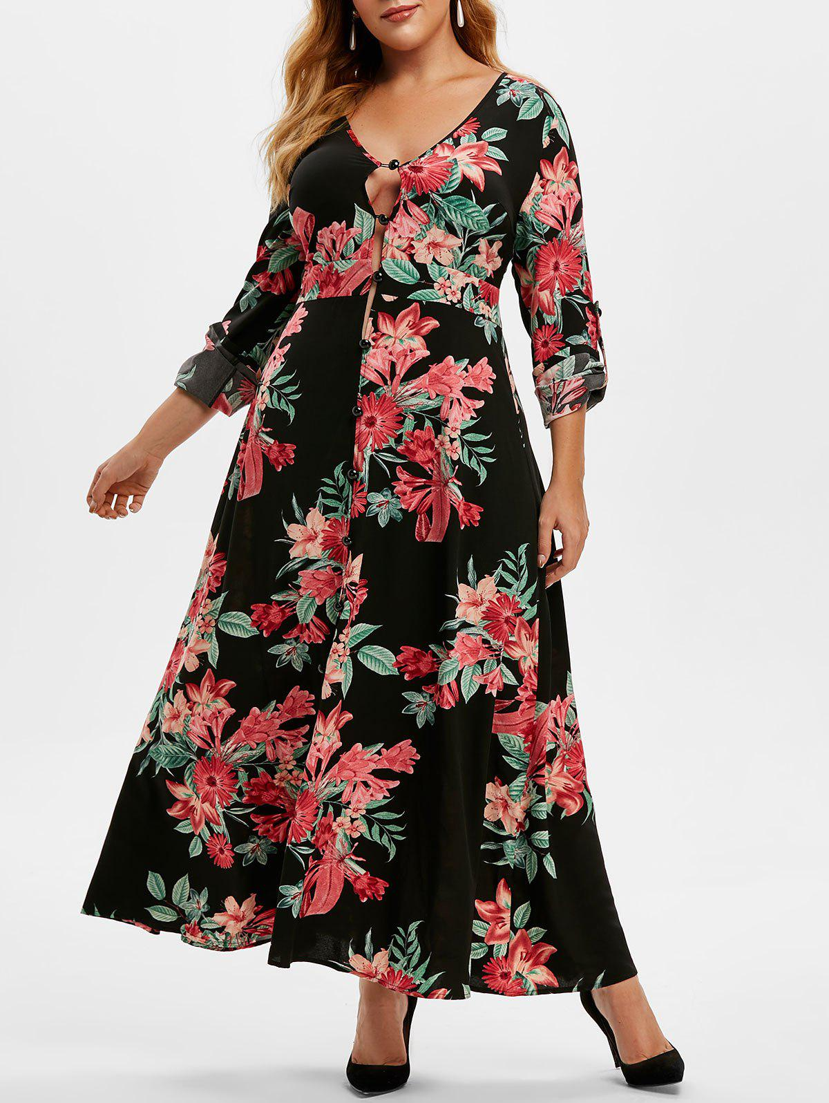 Hot Plus Size Floral Print Roll Up Sleeve Maxi Dress