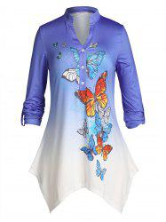 Plus Size Ombre Butterfly Handkerchief Roll Up Sleeve Top -