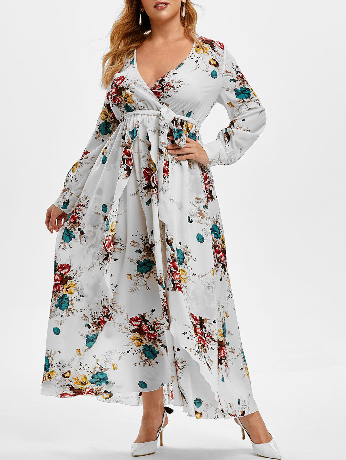 Trendy Plus Size Plunge Floral Print Maxi Dress