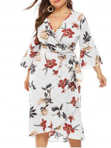 Plus Size Plunge Bell Sleeve Floral Print Wrap Dress